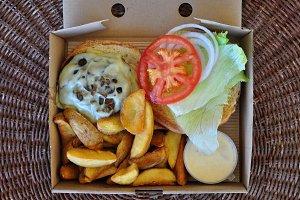 Takeaway Burger Fries