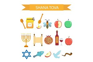Set icons on the Jewish New Year, Rosh Hashanah, Shana Tova. Cartoon icons flat style. Traditional symbols of Jewish culture. Vector illustration.