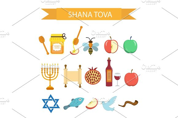 Set Icons On The Jewish New Year Rosh Hashanah Shana Tova Cartoon Icons Flat Style Traditional Symbols Of Jewish Culture Vector Illustration