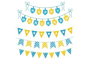 Hanukkah set garlands, ribbons.   for a party.  Jewish festival of decorative elements.  garland flat style. Vector illustration