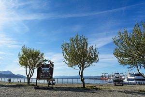 Sign of Ushuaia Fin el Mundo at port