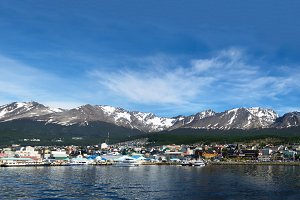 Ushuaia viewed from Beagle channel (Argentina)