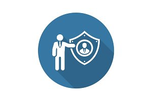 Personal Protection Icon. Flat Design.