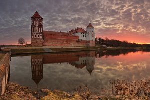 Ancient castle at the sunset