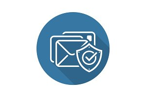 E-mail Protection Icon. Flat Design.