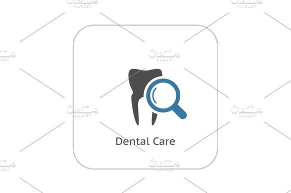 Dental Care Icon Flat Design