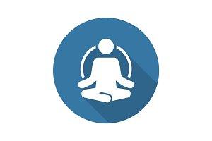 Yoga Fitness Icon. Flat Design.