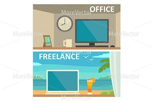 Two workplace - office freelance