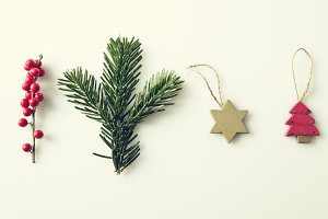christmas holly fir tree decoration