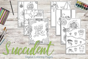 Detailed Succulent Coloring Pages