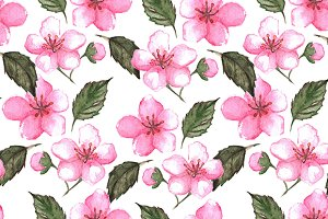 Pink cherry sakura seamless pattern