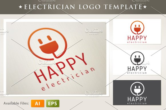 Happy Electrician Logo Templates Creative Market