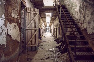 Abandoned prison cell walkway