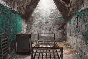 Abandoned prison cell room