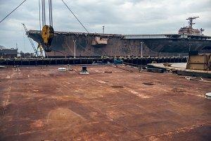rusty metal platform in dock