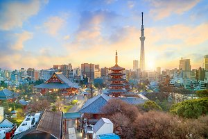 Tokyo skyline with Senso-ji Temple