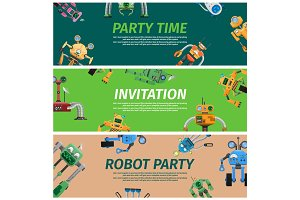 Bright Invitation to Robot Party Time Illustration