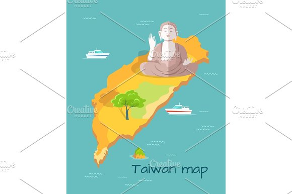 Cartoon Taiwan Map With Buddha Statue Illustration