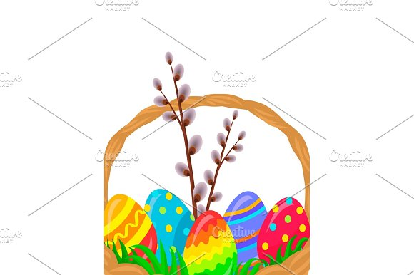 Paschal Wicker Basket With Easter Eggs Vector