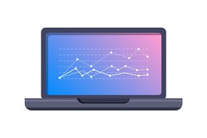 Laptop Icon with Graphic on Screen Flat Vector