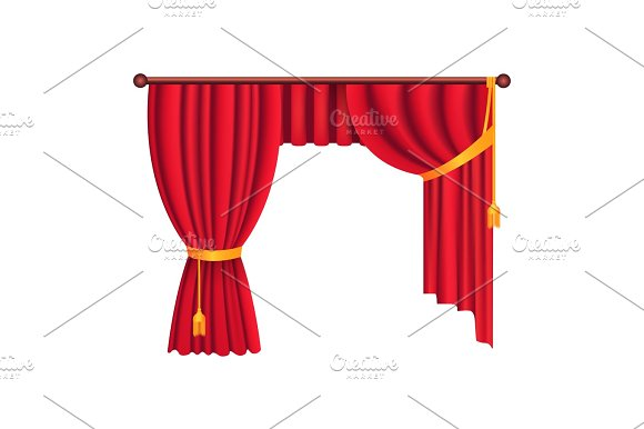 Classic Heavy Red Drapes with Gold Tie Back Vector