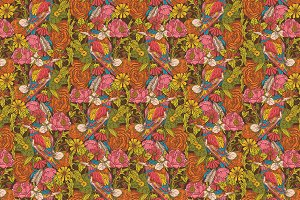 Seamless pattern with humming bird