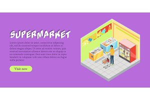 Supermarket Department Isometric Web Banner