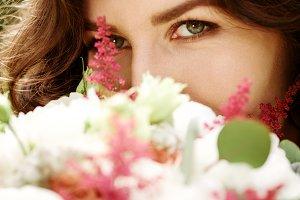 Young beautiful woman close-up
