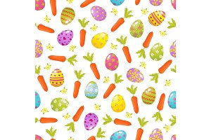 Easter seamless background.Religious holiday pattern from colored eggs, flowers , carrrots .Traditional symbols of Easter vector illustration