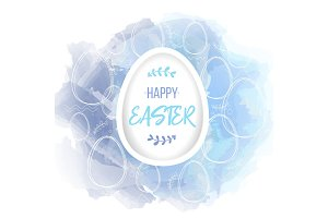 Happy Easter lettering on white paper egg. Traditional religions symbol on watercolor digital imitation background with hand drawn lineart elements. Vector illustration