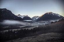 Sunrise in a misty landscape