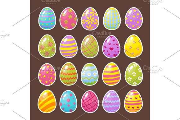 Set of color Easter eggs in Objects