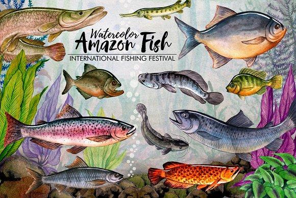 Amazon Fishing Watercolor