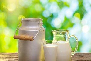 Fresh organic milk on the old wood
