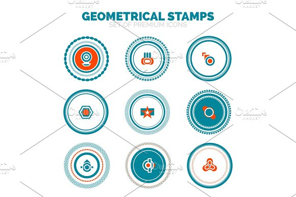 Set Of Abstract Geometrical Round Stamps Vector Premium Icon Collection