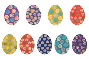 Colorful Easter eggs clipart set