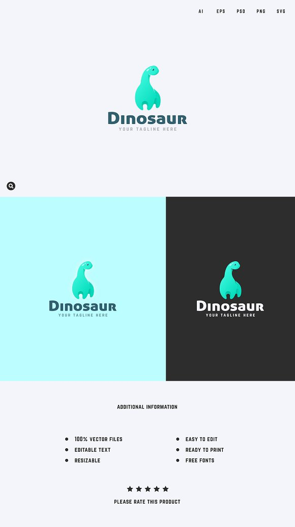 dinosaur logo template logo templates creative market