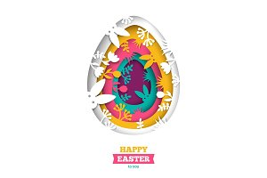 Easter greeting card with abstract carved egg