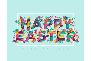 Easter paper cut typography design with frame