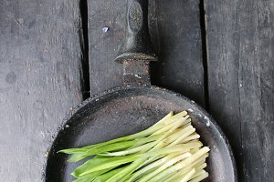 healthy eating, dieting, vegetarian kitchen and cooking vintage concept. Ramson or wild garlic.