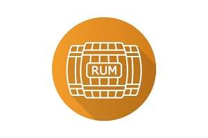 Rum wooden barrels. Flat linear long shadow icon