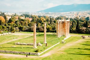ruins of ancient temple Zeus, Athens, Greece