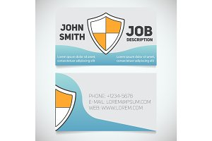 Business card print template with shield logo