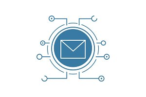 Email security flat linear long shadow icon