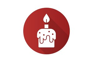 Melting candle flat design long shadow icon