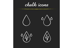 Water energy chalk icons set