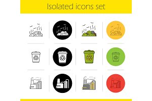 Waste management icons set
