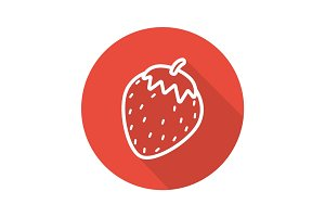 Strawberry flat linear long shadow icon