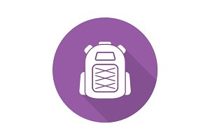 Backpack flat design long shadow icon