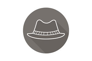 Homburg hat flat linear long shadow icon